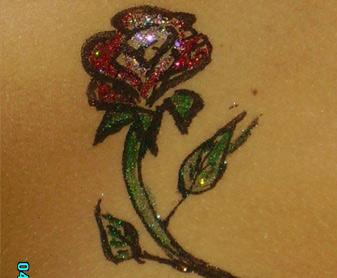 קעקוע נצנצים ורד